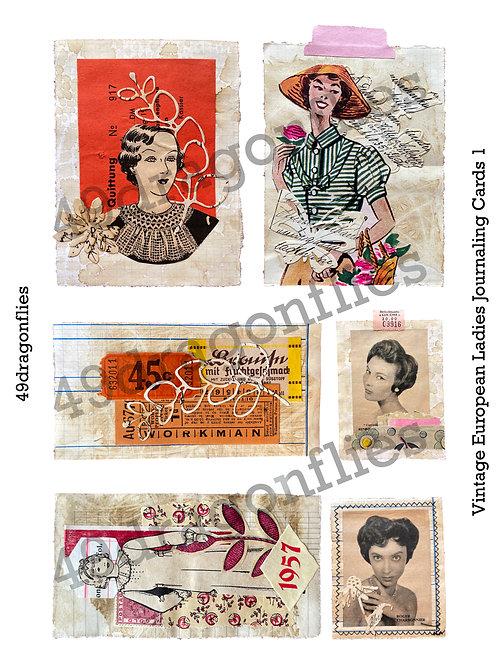 Vintage European Ladies Journaling Cards