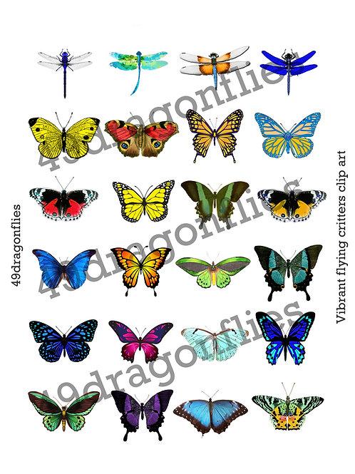 Vibrant flying critters clip art