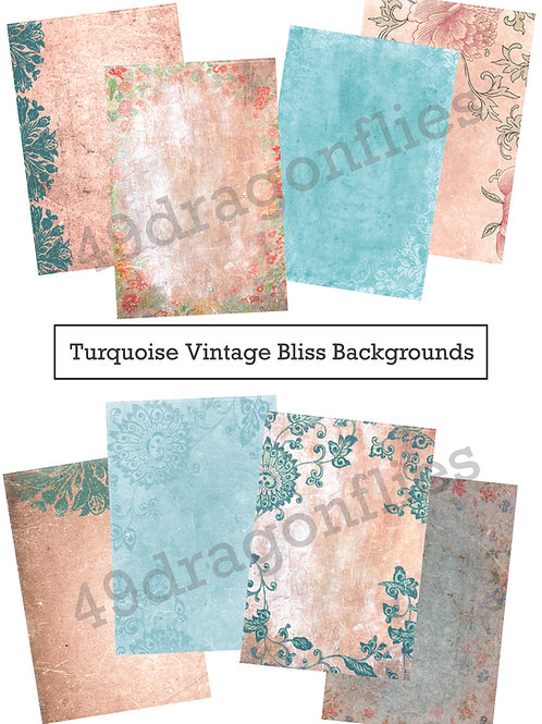 Turquoise Vintage Bliss Backgrounds