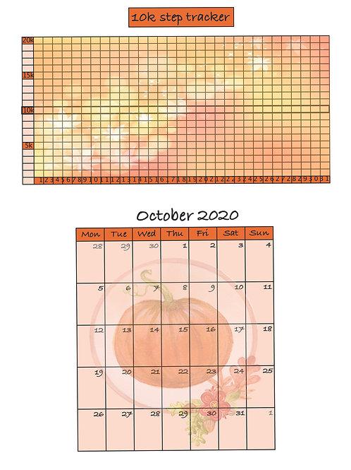 October 2020 Monthly & 10K Step Tracker