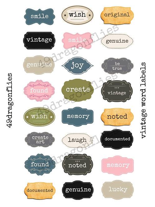 Vintage Word Labels
