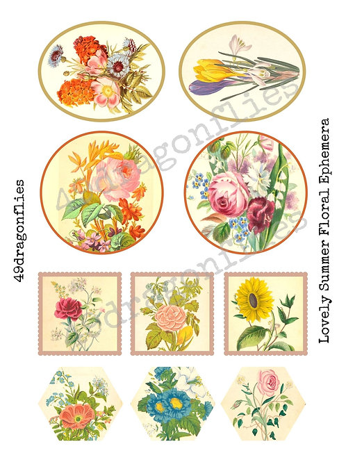Lovely Summer Floral Ephemera and Journaling Cards