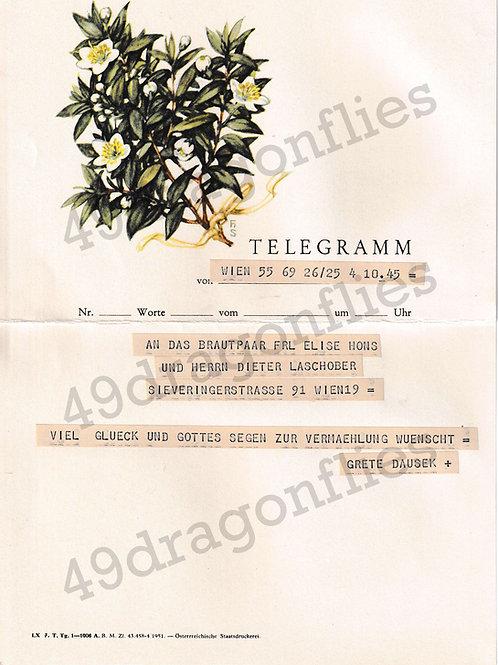 German Vintage Wedding Telegram