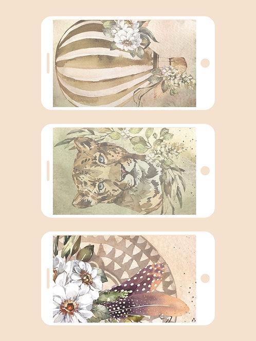 3 Phone Wallpapers, Savannah Set 1