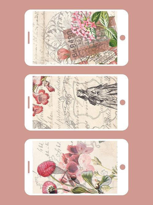 3 Phone Wallpapers, Vintage Spring, Set 2