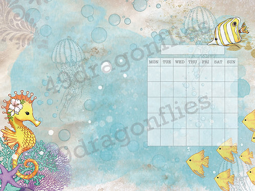 Asrai and Friends Calendar Pages NO DATE With Background