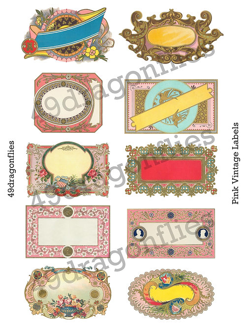Pink Vintage Labels