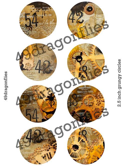 Grungy Circle Tags, 2.5 inch