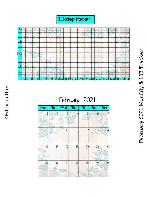 February 2021 Monthly and 10K Step Tracker