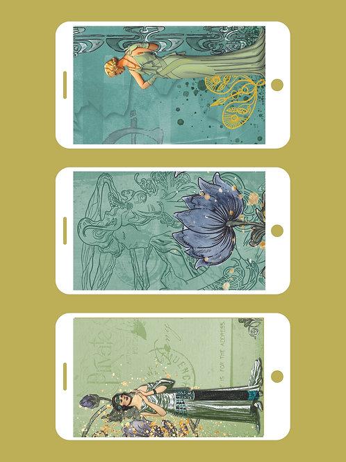 3 Phone Wallpapers, Art Deco Dreams