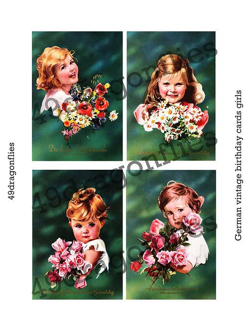 German Vintage Birthday Cards Girls