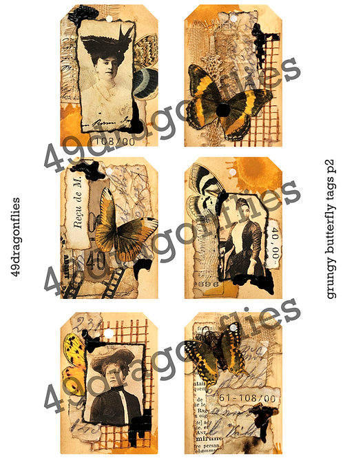 Grungy Butterfly Tags Set 2