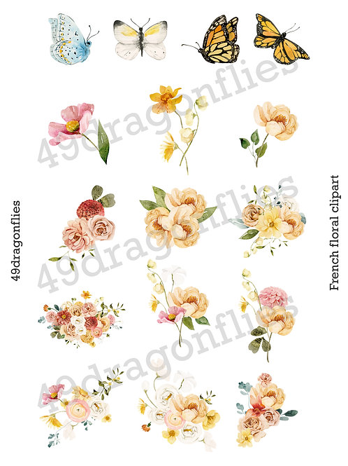 French Floral Clip Art