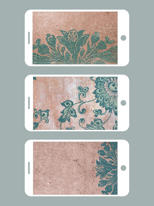 3 Phone Wallpapers, Turquoise Bliss Set