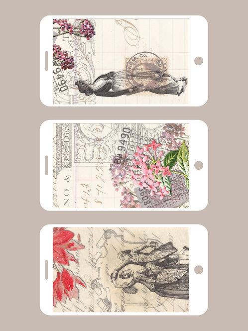 3 Phone Wallpapers, Vintage Spring, Set 1