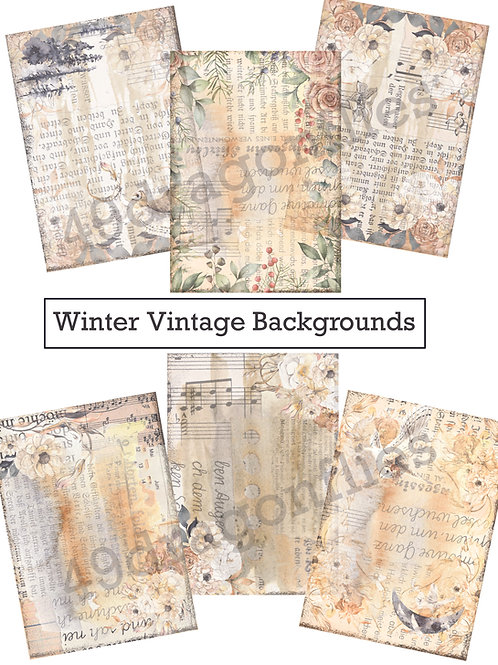 Winter Vintage Watercolor Backgrounds