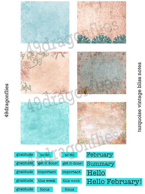 Turquoise Vintage Bliss Notes
