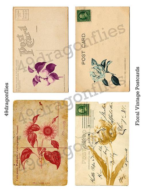 Floral Vintage Postcards