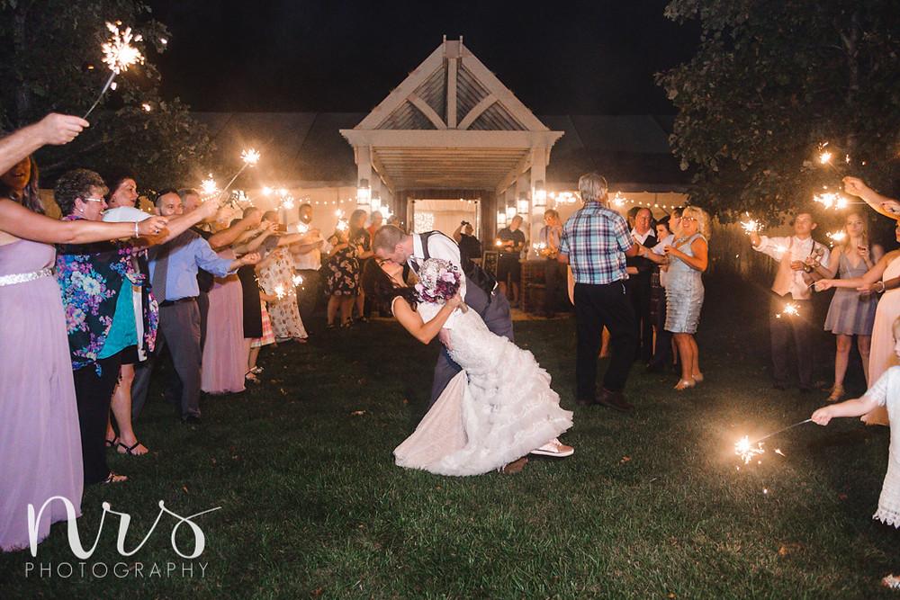 Timber Creek Wedding, Paxton IL, Sparkler Exit
