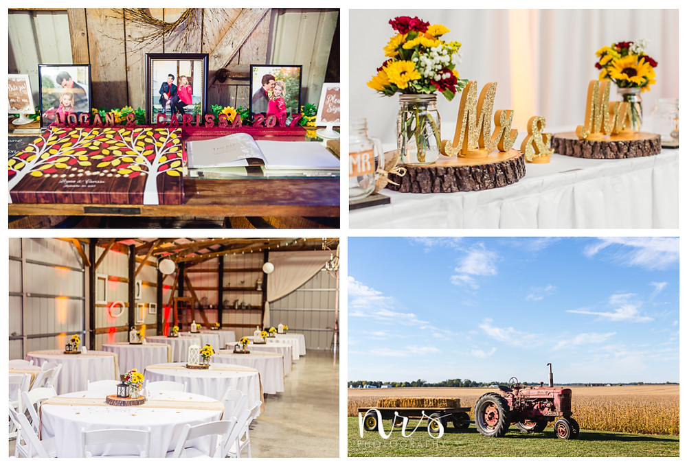 Hudson Farm Wedding, red and yellow reception