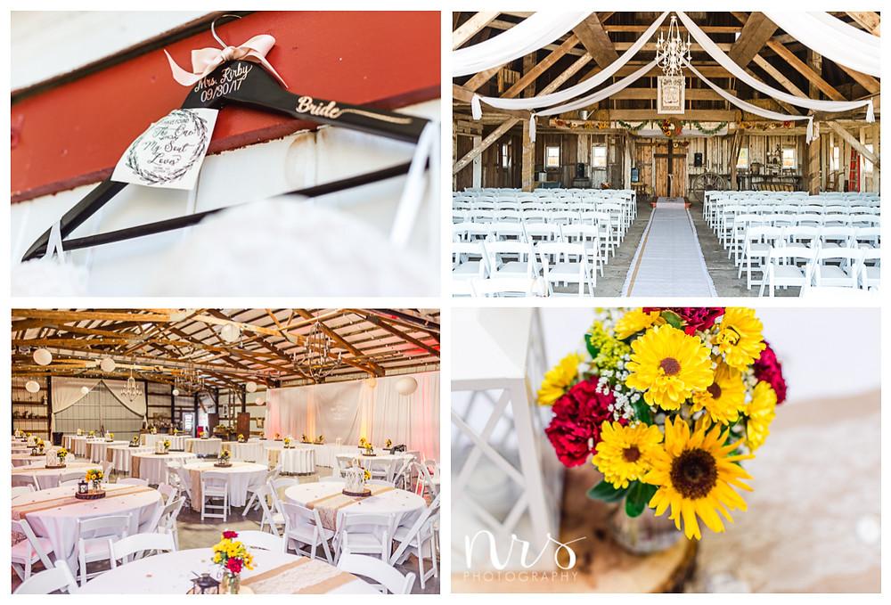Hudson Farm Wedding, custom hanger, red and yellow reception