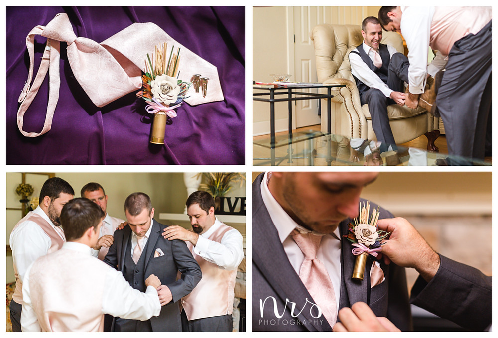 Timber Creek Wedding, Paxton IL, Bullet shell boutonniere