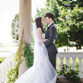 Romantic wedding day embrace