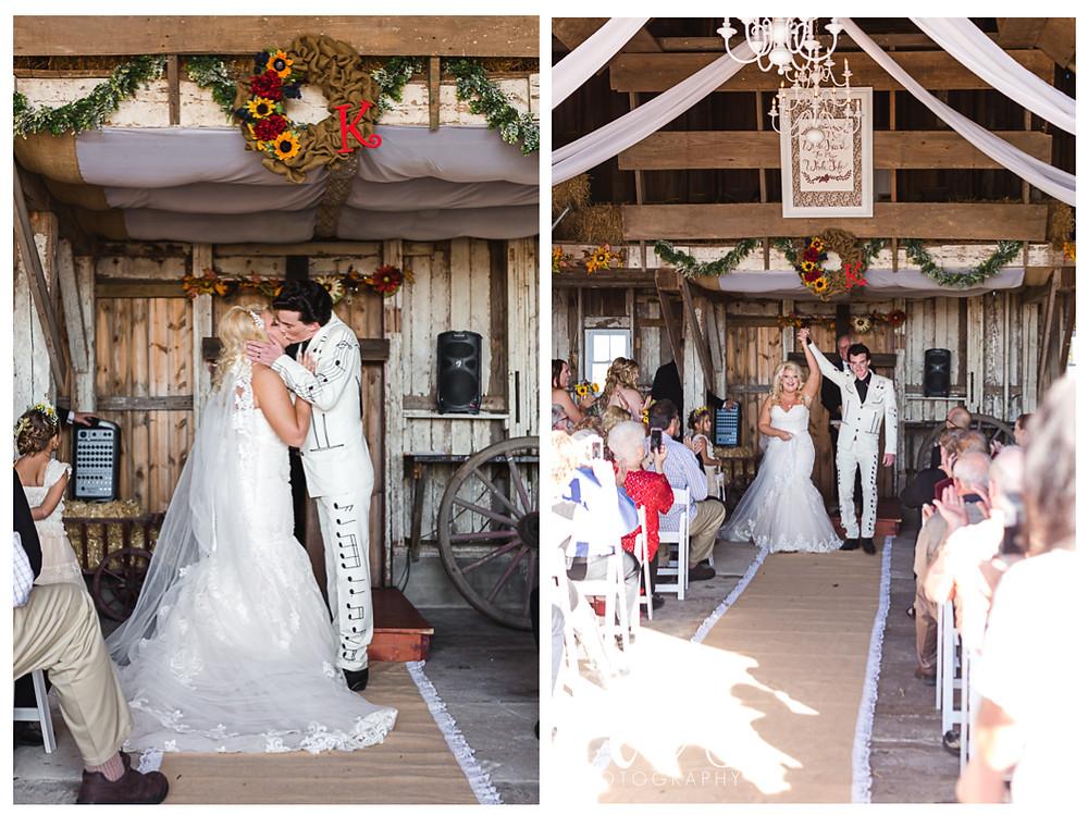 Hudson Farm Wedding, first kiss