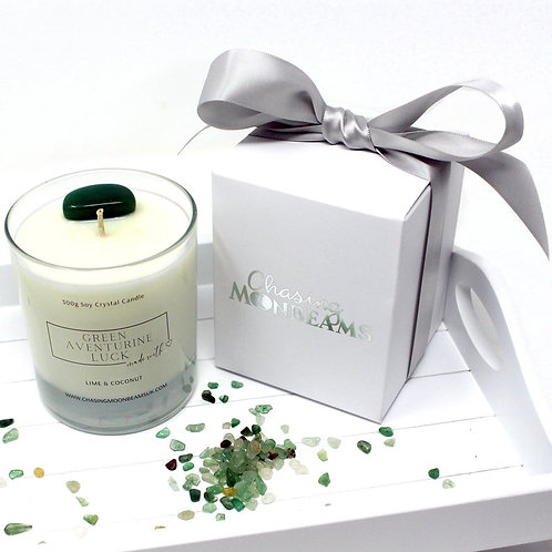 Green Aventurine Crystal Healing Candle Luck Gift Boxed