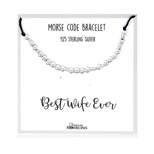 Morse code bracelet Best Wife Ever 925 sterling silver handmade, gift box