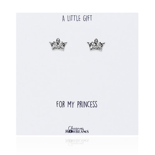 A little gift sterling silver princess crown earrings
