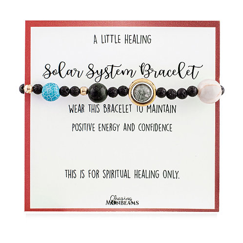 Solar System Gemstone Healing Bracelet For Women and Men, Quote Card, Gift Box