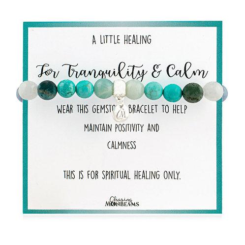 Gemstone healing bracelet for tranquility and calm, beaded healing bracelet