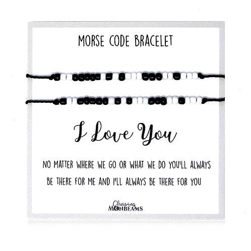 Morse code bracelet I love you matching bead bracelets handmade, gift box