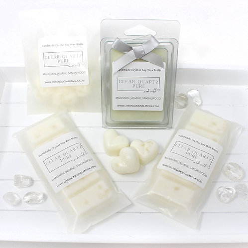 Clear Quartz Crystal Luxury Wax Melts Snap Bars Clamshells Pure