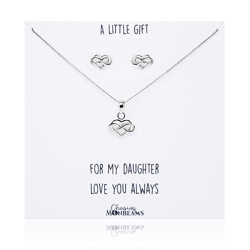 A little gift sterling silver heart infinity earrings and necklace set