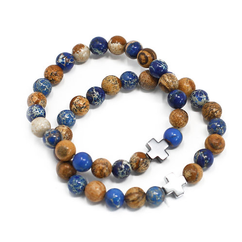 Set of 2 Gemstones Friendship Bracelets - Support - Sodalite & Picture stone
