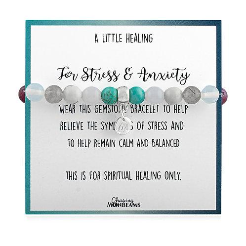 Gemstone healing bracelet for stress and anxiety, beaded healing bracelet