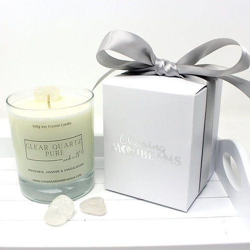 Clear Quartz Crystal Healing Candle Pure Gift Boxed