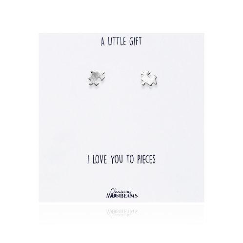 A little gift sterling silver jigsaw piece earrings