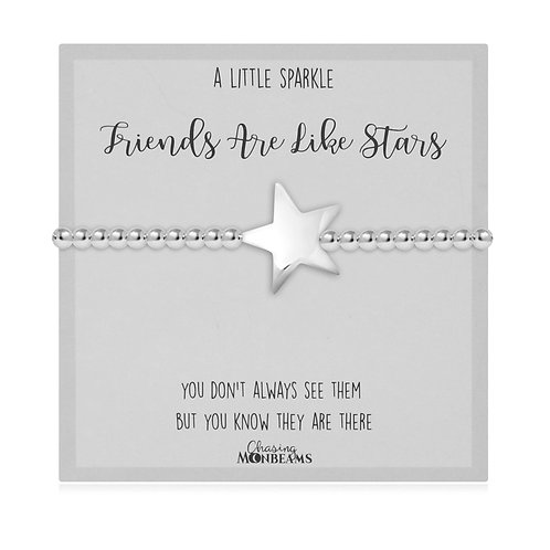 Friends Are Like Stars Women-Star Charm Bracelet Charm Club 925 Sterling Silver
