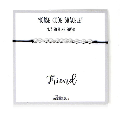 Morse code bracelet Friend 925 sterling silver handmade, gift box