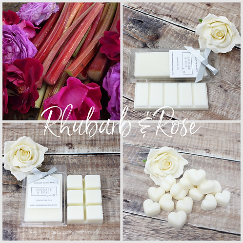 Rhubarb & Rose Soy Wax Melts Highly fragranced