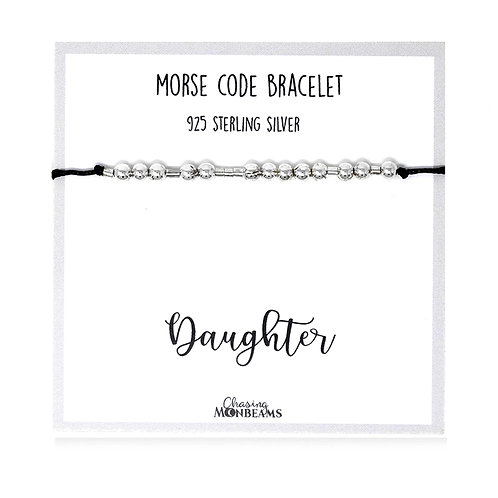 Morse code bracelet Daughter 925 sterling silver handmade, gift box