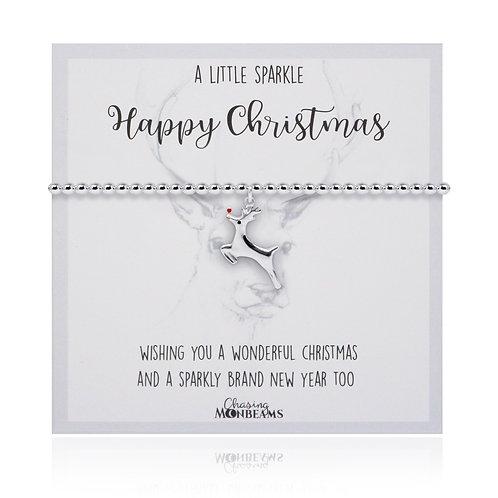 A Little Sparkle 925 Sterling Silver Reindeer Charm Slider Bracelet