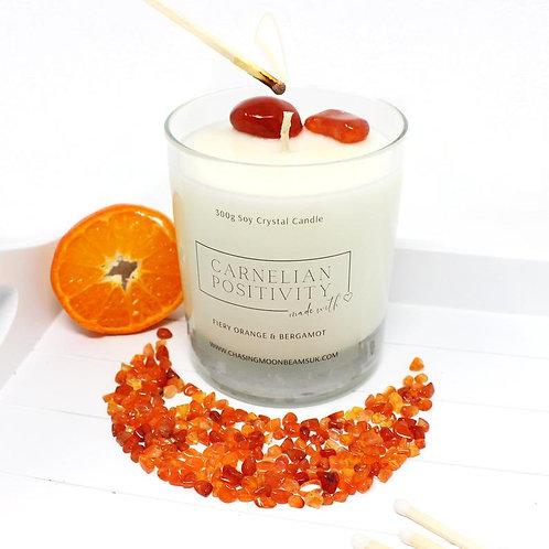 Carnelian Crystal Healing Candle Positivity Gift Boxed