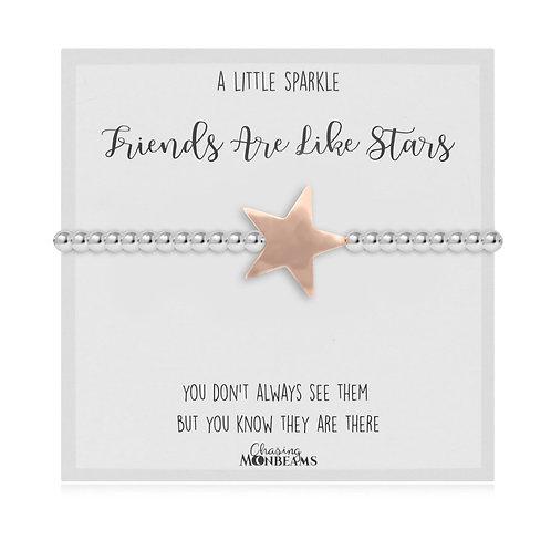 Friends Are Like Stars Women-Star Charm Bracelet Charm Club Rose Gold