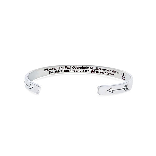 Daughter motivational stainless steel cuff bangle