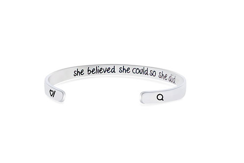 She believed she could so she did motivational stainless steel cuff bangle