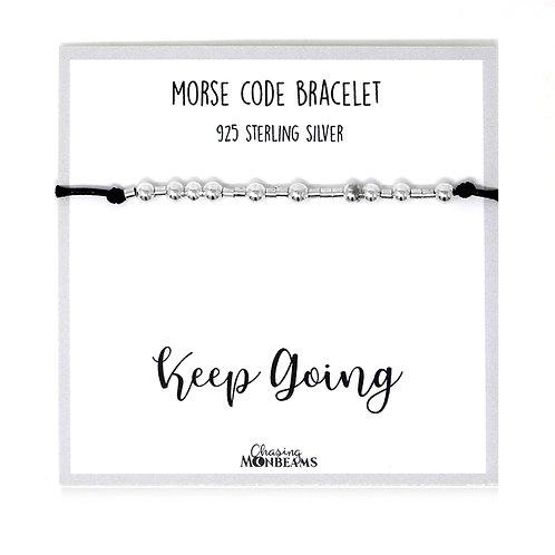 Morse code bracelet Keep Going 925 sterling silver handmade, gift box